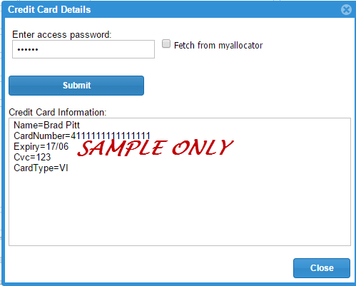 sample credit card details